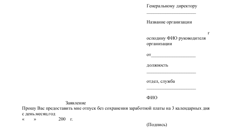 Образец заявления на материальную помощь к отпуску - 1