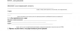Образец заявления о госрегистрации ИП