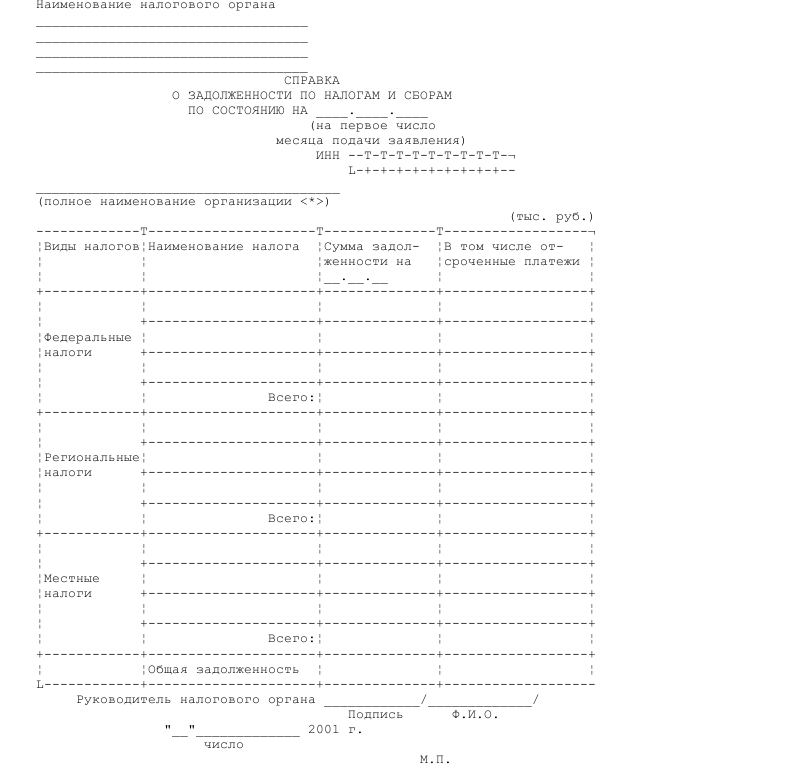 Образец справки налогового органа по месту постановки на учет организации о задолженности по налогам и сборам