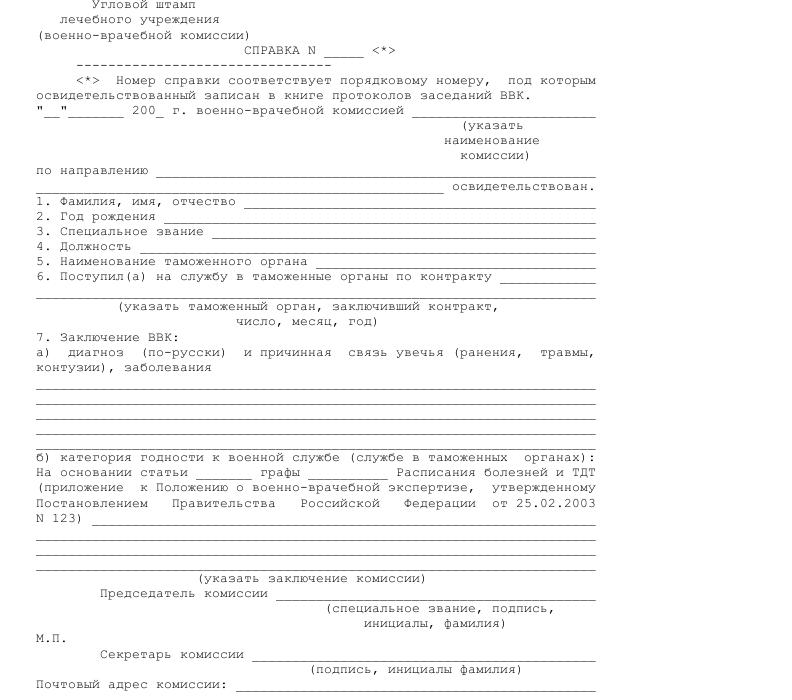Образец справки об освидетельствовании гражданина военно-врачебной комиссией