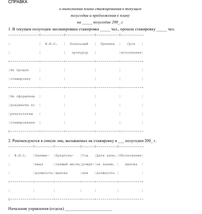 Образец справки о выполнении плана стажирования и предложения к плану
