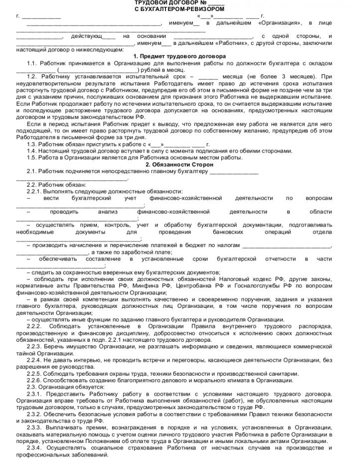 Образец трудового договора с бухгалтером-ревизором_001
