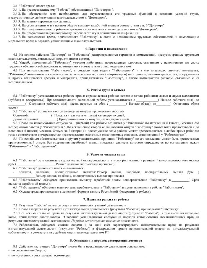 Образец трудового договора с веб-программистом_002
