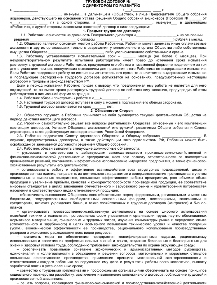 Образец трудового договора с директором по развитию_001