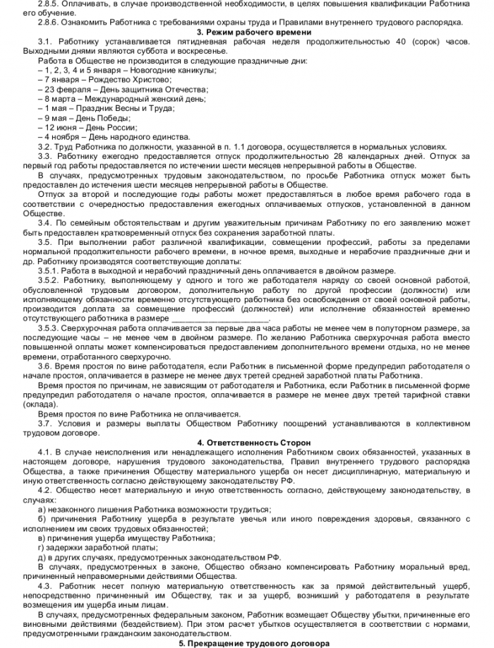 Образец трудового договора с директором по развитию_003