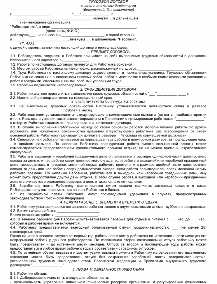 Образец трудового договора с исполнительным директором_001