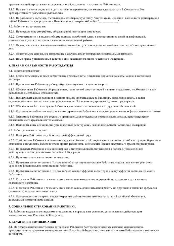 Образец трудового договора с менеджером по продажам _003