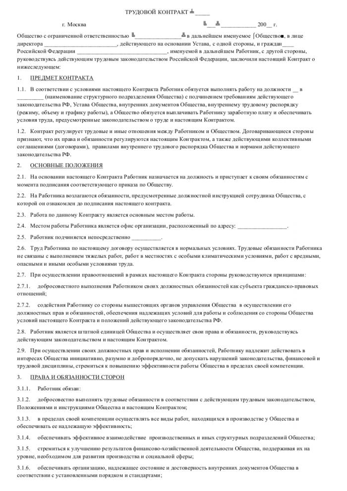 Образец трудового договора с менеджером проекта_001