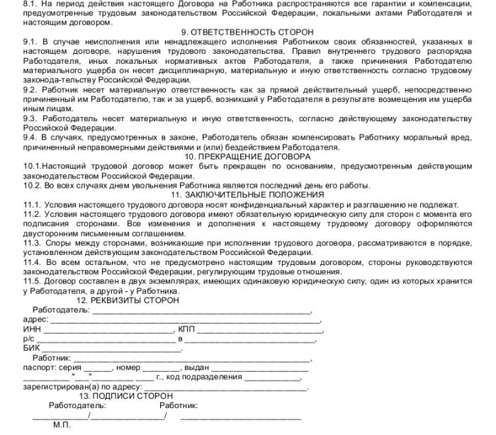 Образец трудового договора с начальником отдела продаж_003