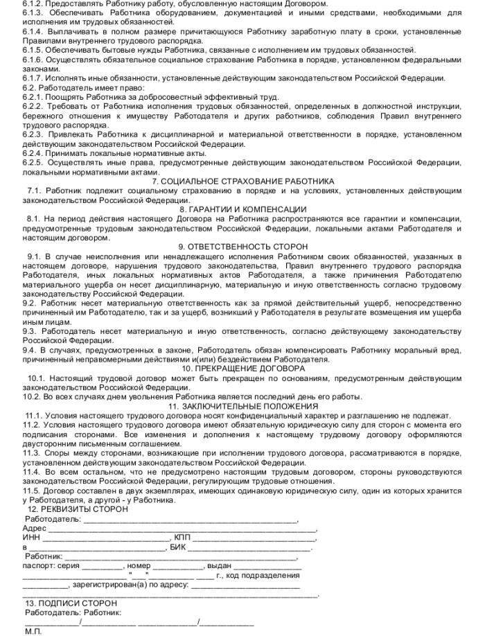 Образец трудового договора с начальником планово-экономического отдела_003