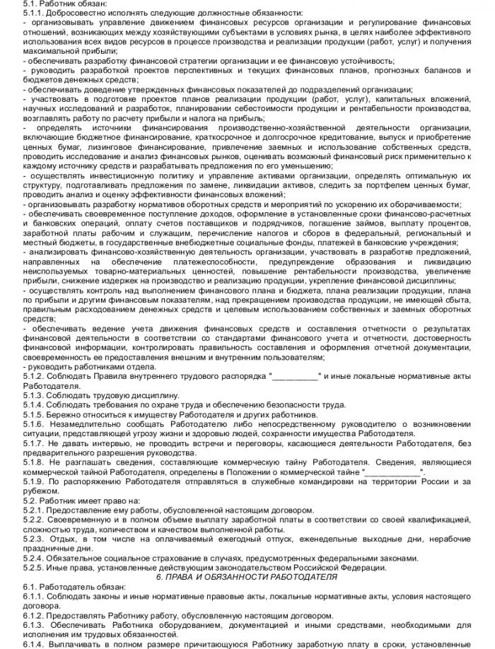Образец трудового договора с начальником финансового отдела_002