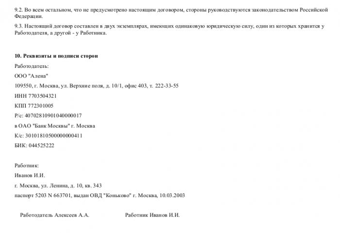 Образец трудового договора с программистом_003