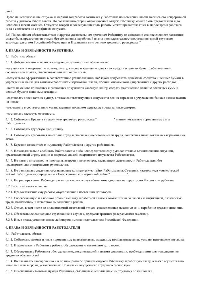 Образец трудового договора с продавцом-кассиром_002