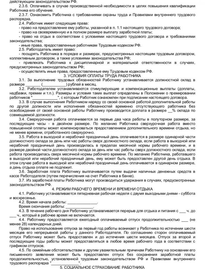 Образец трудового договора с техническим директором_002