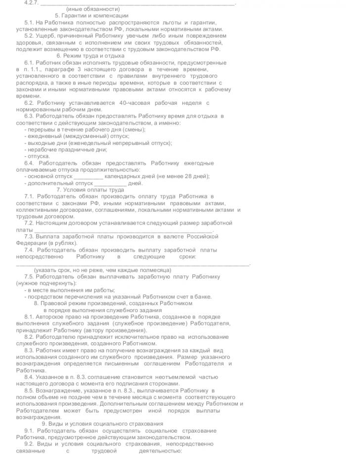 Образец трудового договора с техническим писателем_004