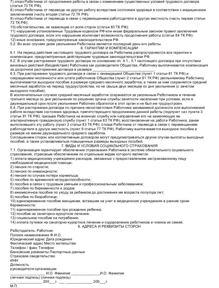 Образец трудового договора с финансовым аналитиком_003