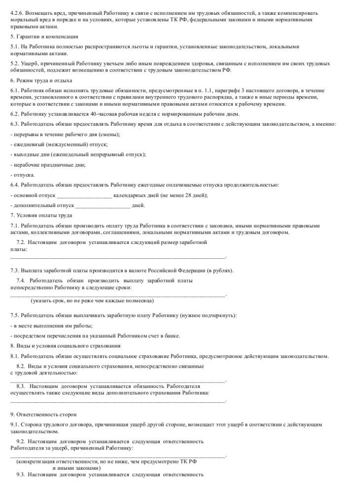 Образец трудового договора с экспедитором_003