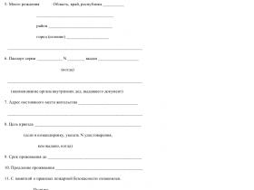 Скачать образец анкеты лица, прибывшего в гостиницу_001 в формате .doc