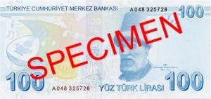 Турецкая лира100р