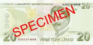 Турецкая лира20р