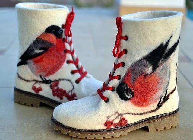 Валянки со снегирями
