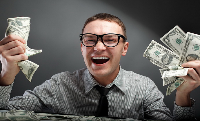 Happy man with money
