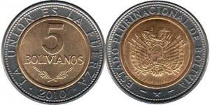 монета боливии 5 боливиано