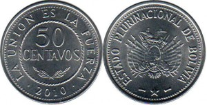 монета боливии 50 сентаво