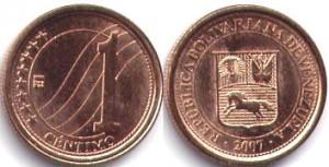 монета венесуэлы 1 сентимо