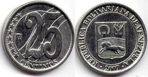 монета венесуэлы 25 сентимо
