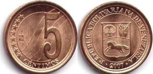 монета венесуэлы 5 сентимо