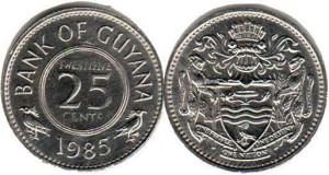 монета гайана 25 центов