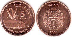 монета гайана 5 долларов