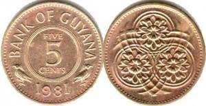 монета гайана 5 центов
