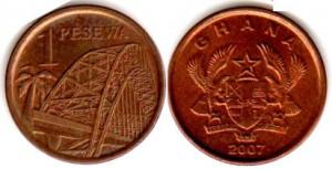 монета ганы 1 песева