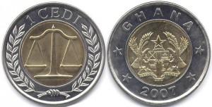 монета ганы 1 седи