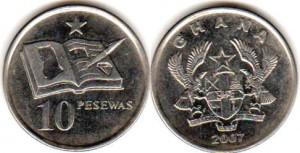 монета ганы 10 песев