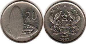 монета ганы 20 песев