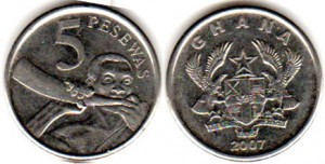монета ганы 5 песев