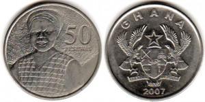 монета ганы 50 песев