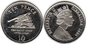 монета гибралтара 10 пенсов