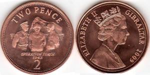 монета гибралтара 2 пенса