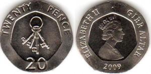 монета гибралтара 20 пенсов