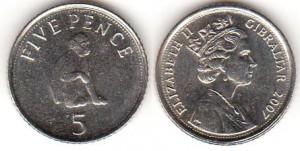 монета гибралтара 5 пенсов