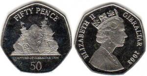 монета гибралтара 50 пенсов