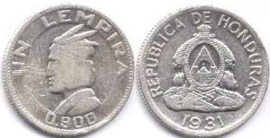 монета гондураса 1 лемпира