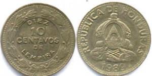 монета гондураса 10 сентаво