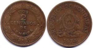 монета гондураса 2 сентаво