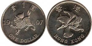 монета гонконга 1 доллар
