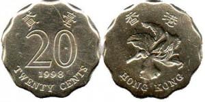 монета гонконга 20 центов